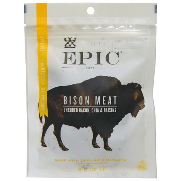 Epic Bites Bison Meat Uncured Bacon, Chia & Raisins