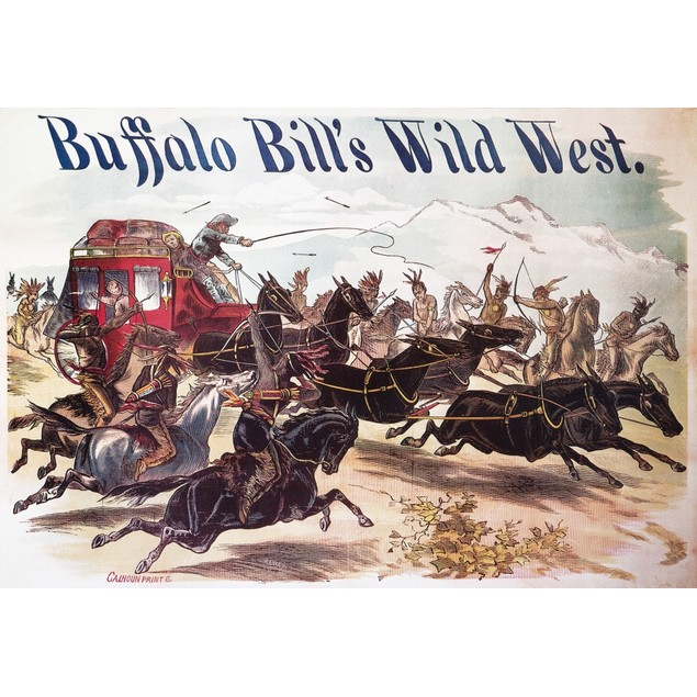"""Buffalo Bill: Poster, 1893. /N""""Attack On A Stagecoach"""": Lithograph Poster F"""