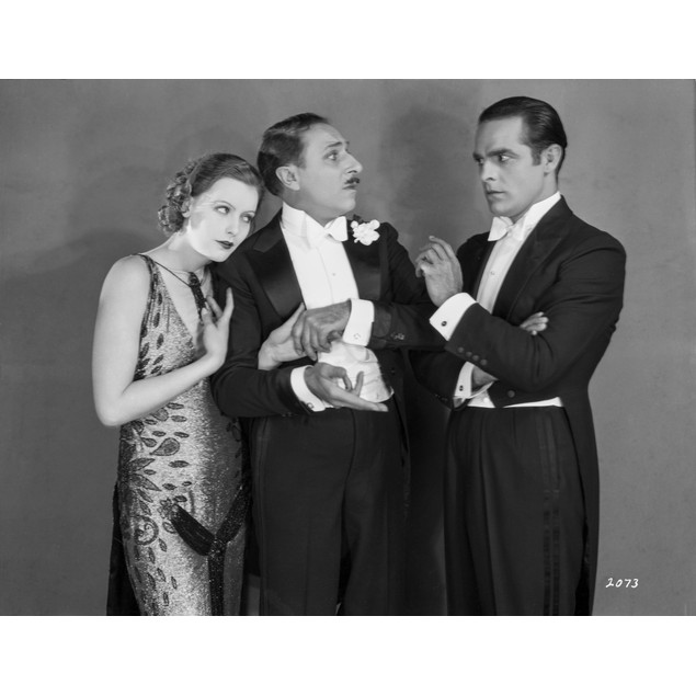 Greta Garbo wearing Black Formal Outfit with Two Gentleman Poster