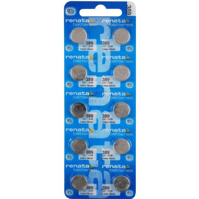 Renata 389 (SR1130W) Silver Oxide Watch Batteries (10 Pack)