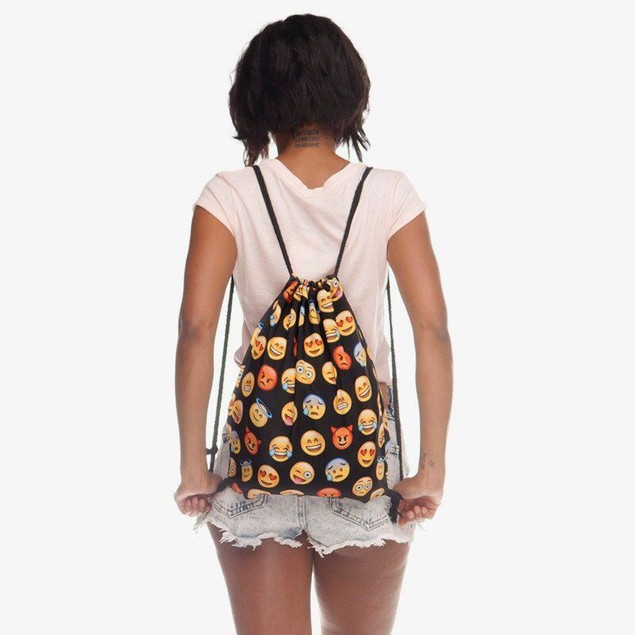 2-Pack Emoji Drawstring Backpack