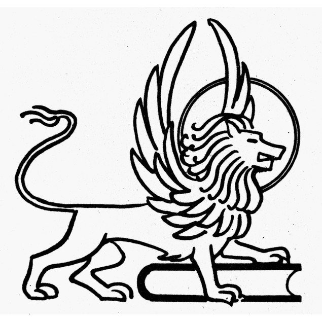 Saint Mark. /Na Winged Lion And Book, The Symbol Of Saint Mark. Line Drawin