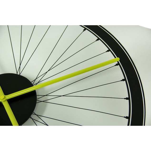 Black Spoked Bicycle Wheel Peel And Stick Vinyl Wall Clocks