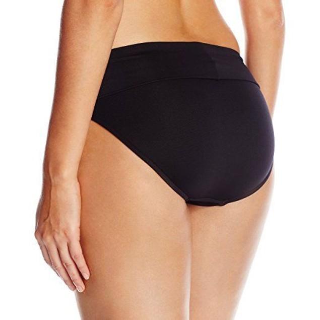 Seafolly Women's Roll Top Pant Bikini Bottom, Black, SZ 12 us