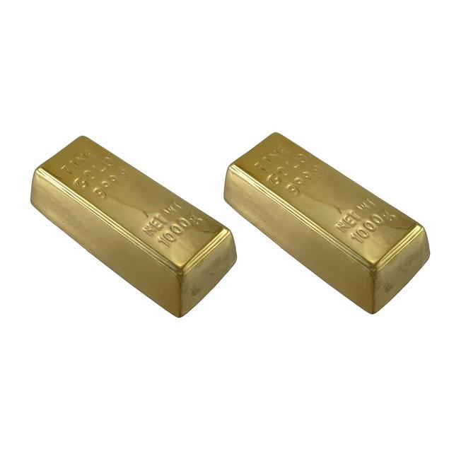 Ceramic Gold Bar Money Bank Metallic Finish Set Of Toy Banks