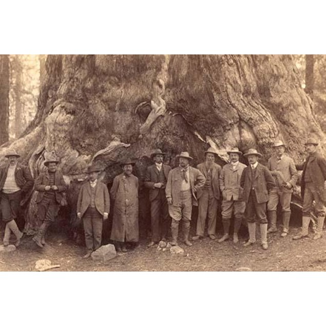 "Theodore Roosevelt and his distinguished party, before the ""Grizley Giant,"""