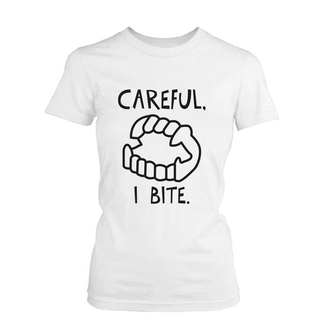 Careful I Bite Funny Tshirt White Graphic Tee for Halloween Funny Shirt