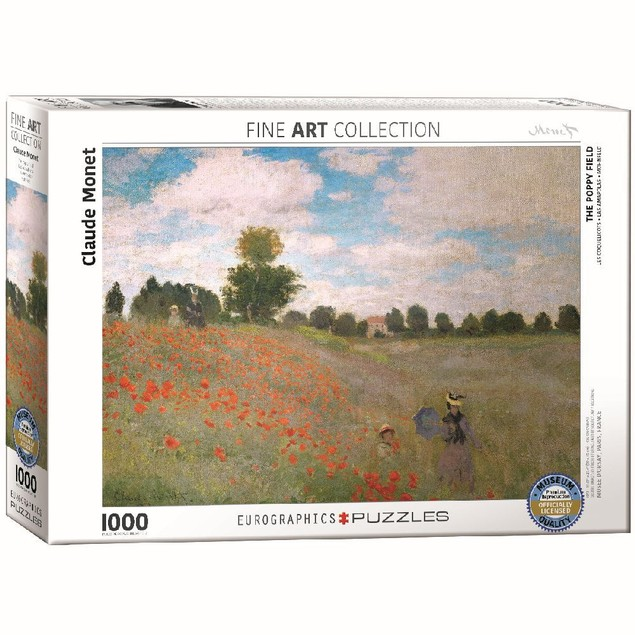 Claude Monet The Poppy Field 1000 Piece Puzzle, 1,000 Piece Puzzles by