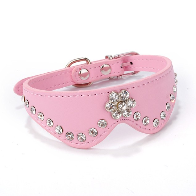 Buckle Necklace Leather Pet Puppy Dog Cat Collar Rhinestone Collar
