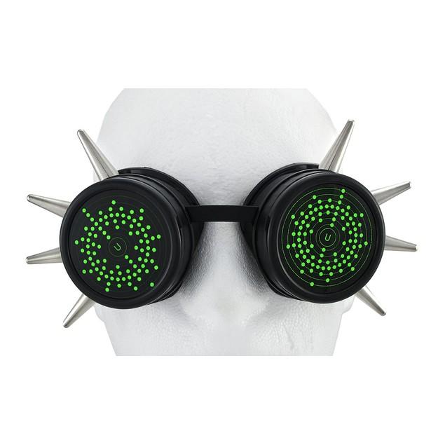 Cyberpunk Silver Spiked Black Decorative Goggles Mens Costume Accessories