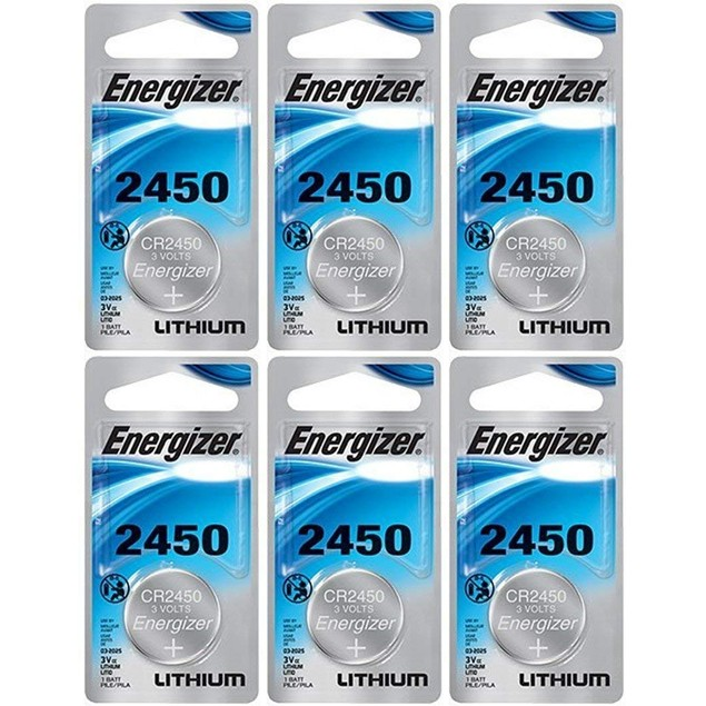 Energizer CR2450 3-Volt Lithium Coin Cell Batteries (6 Batteries)