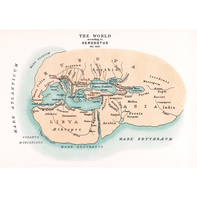 World Map./Npre-Christian Era, C450 B.C., According To The Writings Of Hero