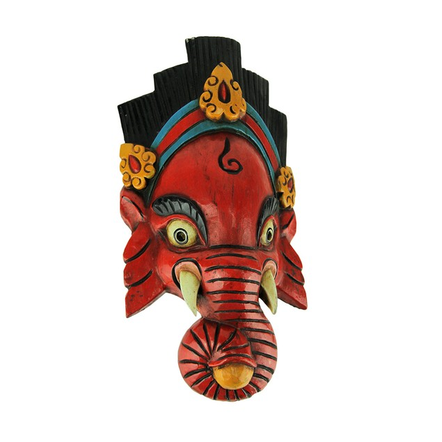 Hand Crafted Wooden Ganesha Mask Wall Decor Wall Sculptures