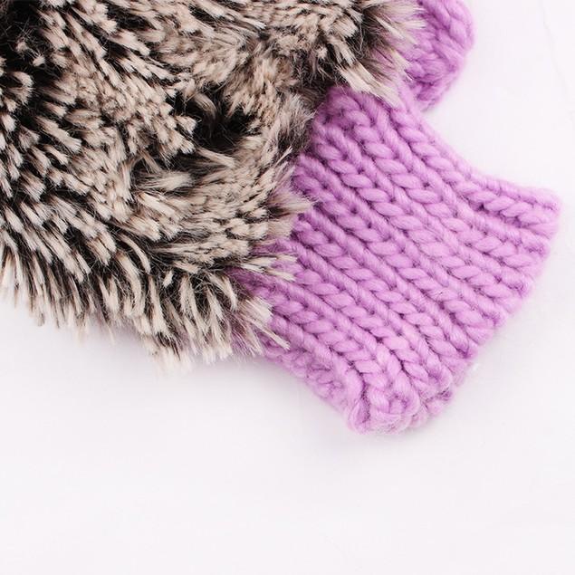 Autumn Winter Gloves Women Mittens Cartoon Knitted Hedgehog Glove