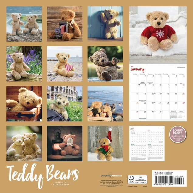 Teddy Bears Wall Calendar, Entertainment by Vista Stationery & Print Ltd