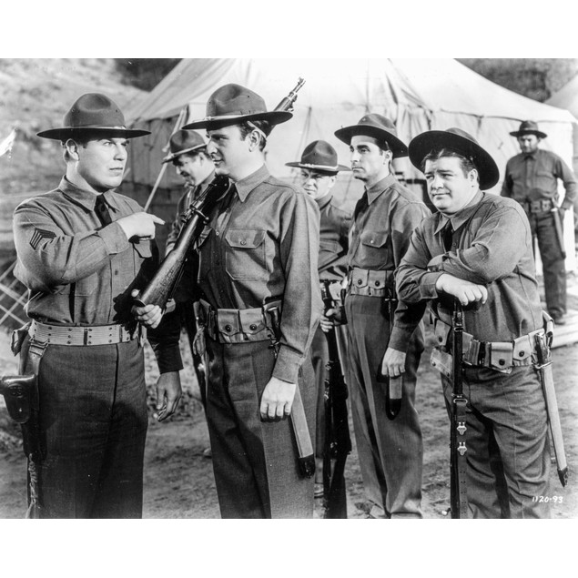 Abbott & Costello in Ranger Uniform Holding Gun Poster