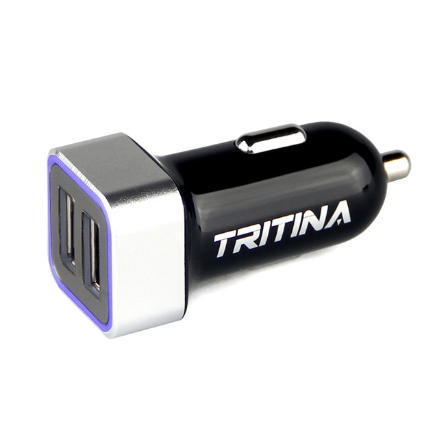 Tritina Car Charger 17W 3.4A Dual USB Port with Charge Sync Cable