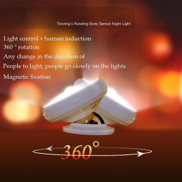 360 Rotation USB Rechargeable Motion Sensor LED Night Light Table Lamp