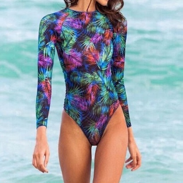 Long Sleeve Mixed Leaf Print One Piece Swimsuit