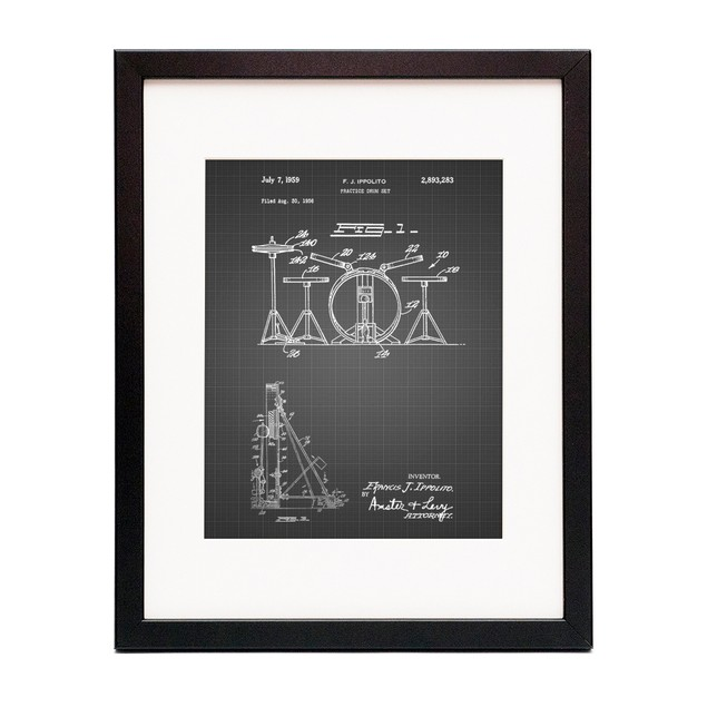 Practice Drum Set Patent Poster