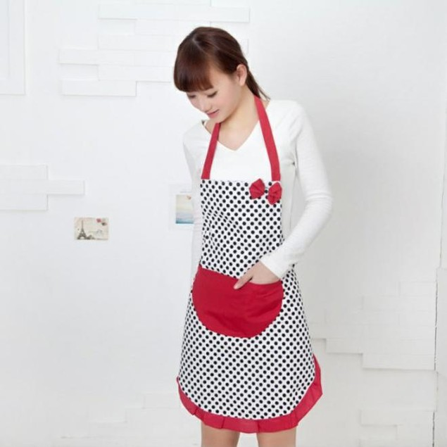 Cute BowKnot Women Kitchen Restaurant Bib Cooking Aprons With Pocket