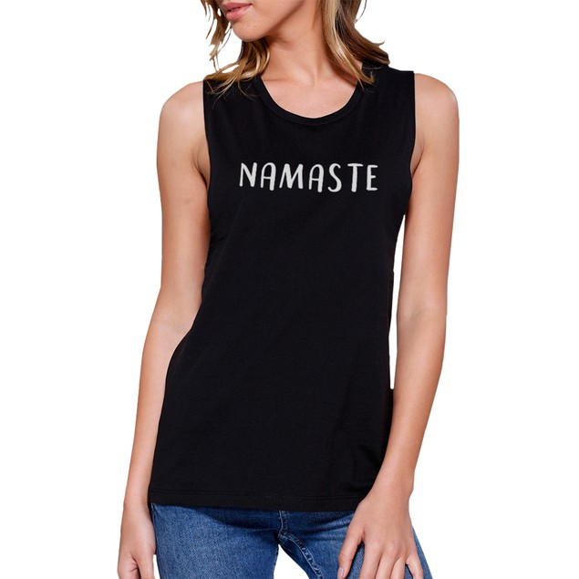 Namaste Muscle Tee Work Out Tank Top Cute Women's Yoga T-shirt