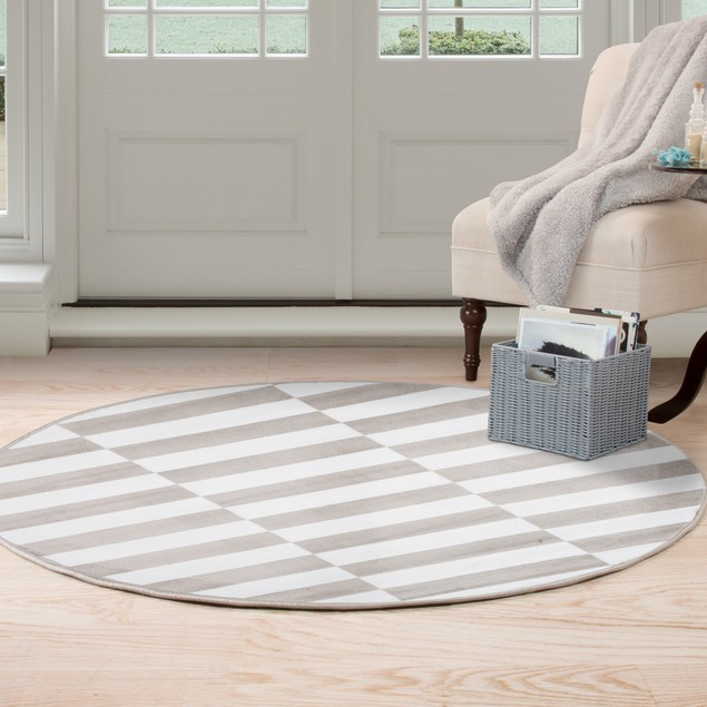 Lavish Home Checkered Stripes Area Rug