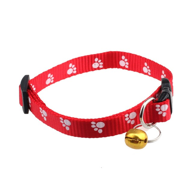 Adjustable Nylon Footprints Collar Dog Puppy Pet Collars With Bells