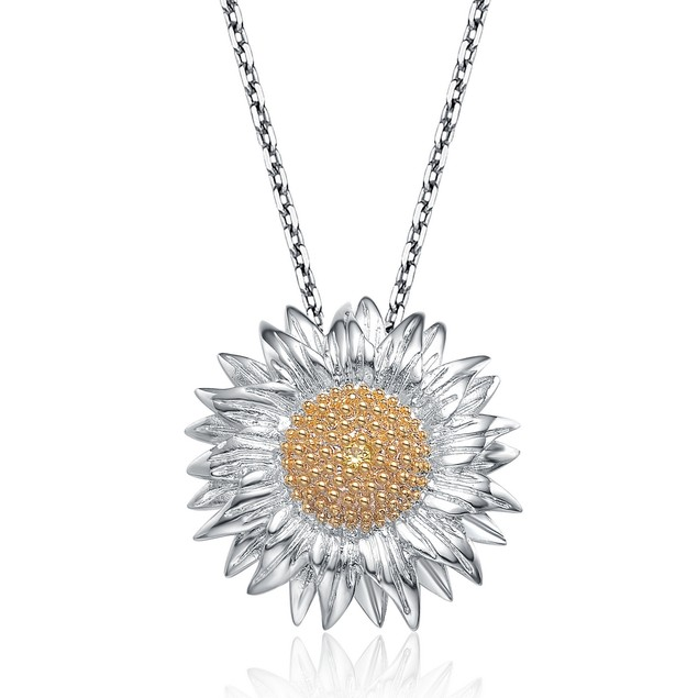 Sterling Silver Platinum Plated Sunflower Shape Pendant