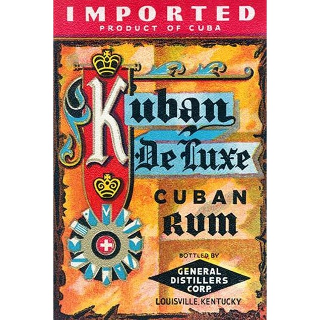 Vintage bottle label from Kuban Deluxe Cuban Rum.  The rum was imported fro