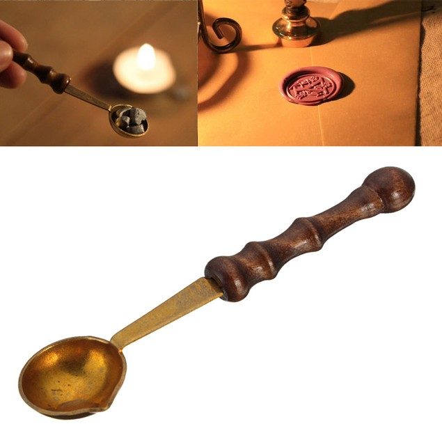 Vintage Wood Handle Anti-Stamp Seal Sealing Wax Brass Spoon