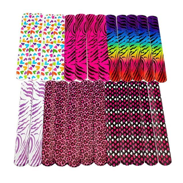 50pcs Slap Neon Bracelet Party Favor Pack with Colorful Hear