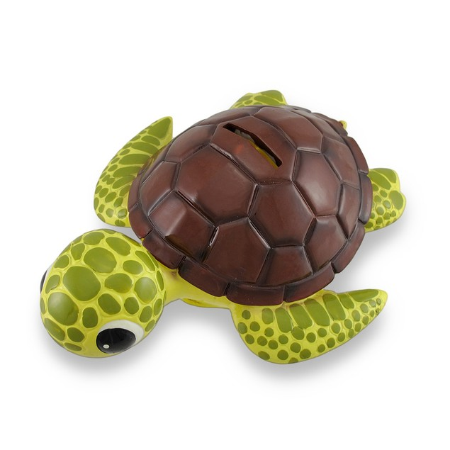 Bobble Head Sea Turtle Brown Shell Piggy Bank Toy Banks
