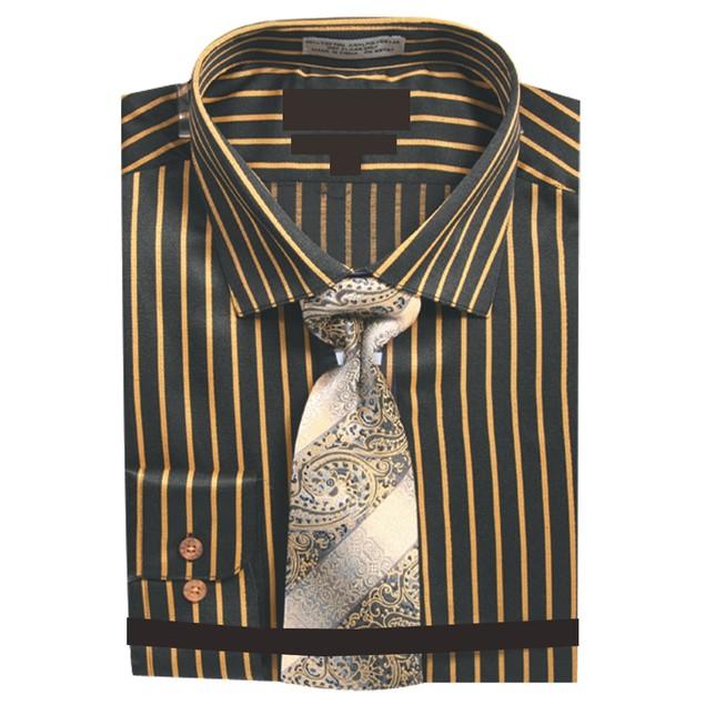 Men's Slim Fit Stripe Dress Shirt with Neck Tie