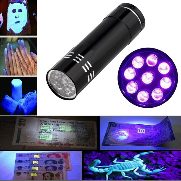 Mini UV Ultra Violet 9 LED Blacklight Torch