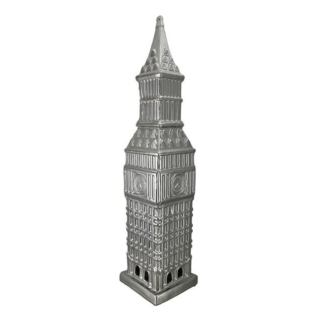 Metallic Silver Finish Ceramic Big Ben Tower Statues