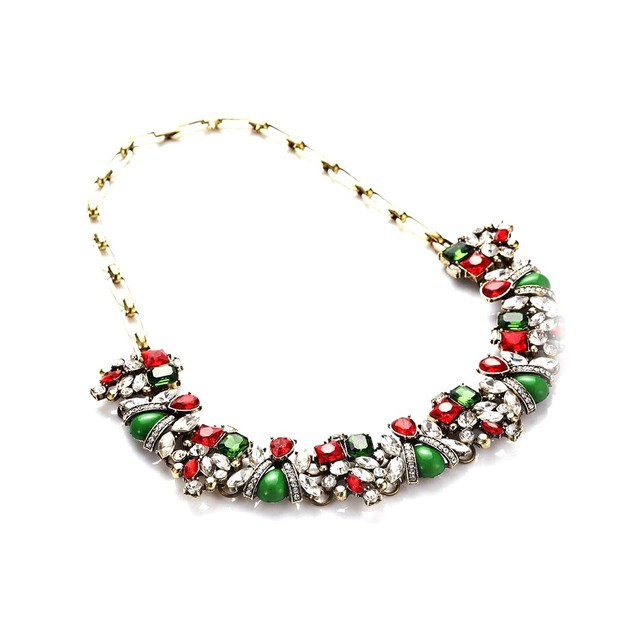 Novadab Happy holidays statement  sparkling crystal charms necklace