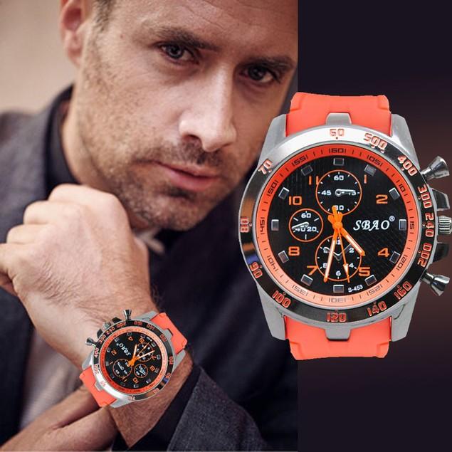 Men's Stainless Steel Luxury Sport Analog Quartz Modern Wristwatch