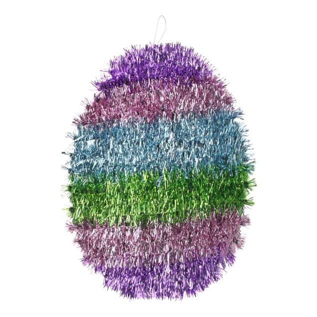 "12"" Multi-Color Tinsel Easter Egg Spring Window Decoration"