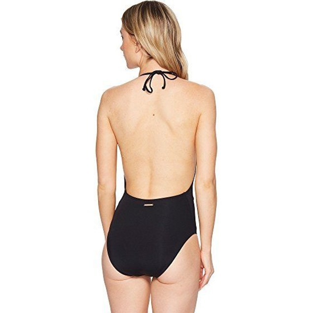 Vince Camuto Women's Hardware High Neck Plunge One Piece Swimsuit SIZE 8
