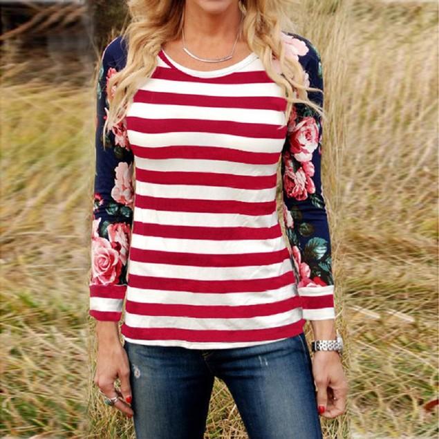 Long Sleeve Stripe Floral Blouse