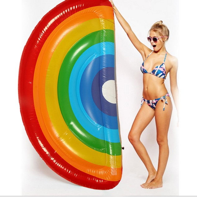 Giant Inflatable Rainbow Pool Float Swimming Raft Swim Ring Party Water Fun