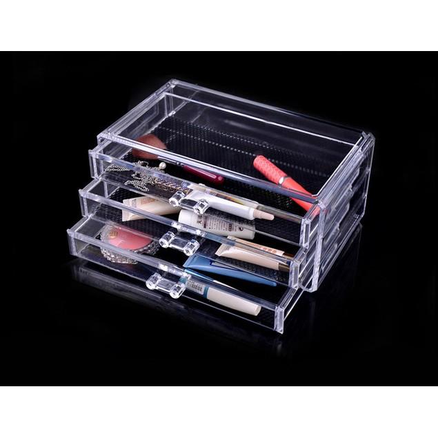 Makeup Cosmetics Jewelry Organizer Clear 3 Drawers Lipstick Box Storage