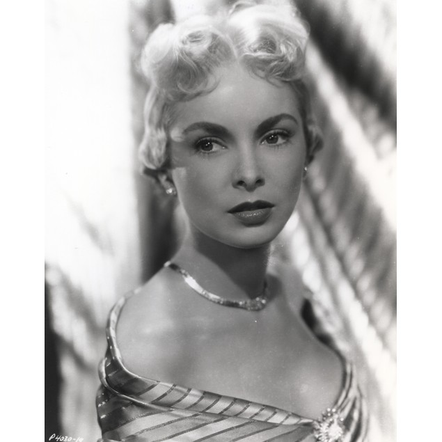 Janet Leigh Posed in Stripe Shoulder Dress and Shiny Necklace with Pearl Ea