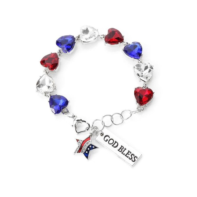 Novadab God Bless America  Tennis Gem Bracelet Three Colors Gems