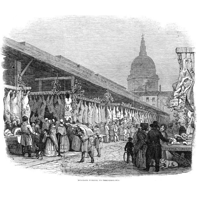 Christmas In London, 1845. /N'Newgate Market On Christmas Eve.' Wood Engrav