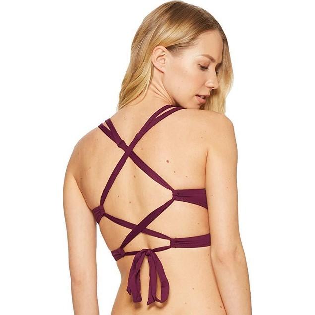 Becca by Rebecca Virtue Women's Convertible Strap Bikini Top Raisin S