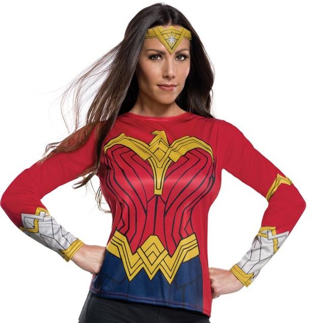 Adult Wonder Woman Justice League Costume Top and Tiara Gal Gadot DC Comics