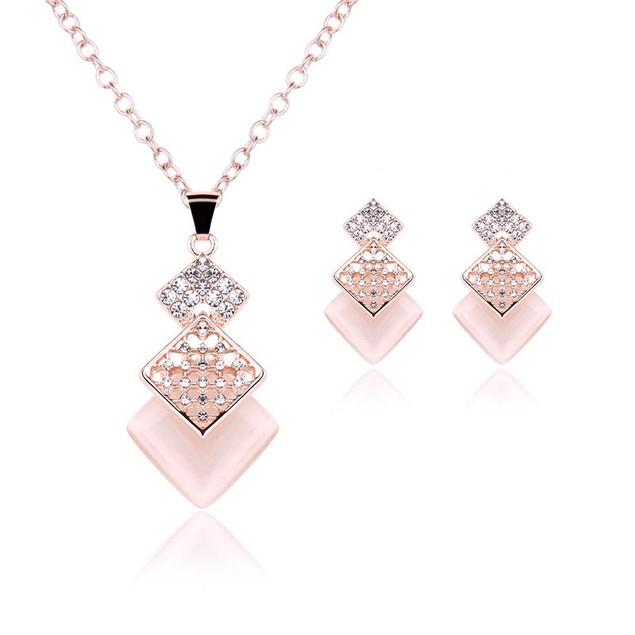 Triple Diamond Necklace & Earring Set