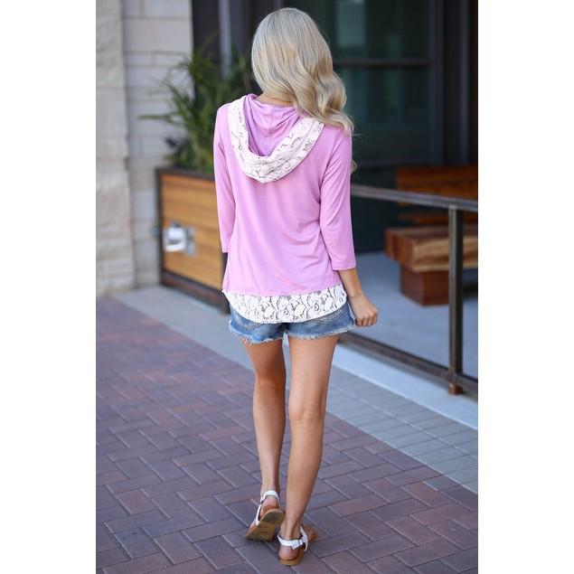 Lightweight Lace Trim Hoodie Shirt